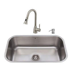 VIGO Industries - VIGO Undermount Stainless Steel Kitchen Sink, Faucet, Strainer and Dispenser - Get everything you need with this complete kitchen set that will revitalize the look of your kitchen