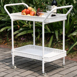 "Jeco - Outdoor White Wicker Patio Serving Cart - With durable, all-weather resin wicker over a powder-coated steel frame, this serving cart is built to withstand anything life throws your way. Unlike real wicker which dries out and cracks, resin wicker is flexible and fade-resistant, which means it stays like new season after season. What's more, all-weather wicker doesn't absorb water and also allows for air flow, making it the perfect choice for the poolside! In addition, this chair is virtually maintenance-free and cleaning it is as simple as spraying it down with your garden hose or wiping it with a solution of mild dish soap and water. The serving cart makes serving your guests easier than ever with two convenient serving trays for extra storage. ; Steel frame for extra durability; All weather synthetic resin wicker; Hose off and wipe clean; Simple assembly required; Dimensions: 32"" X 18"" W X 32"" H, 36 lbs"