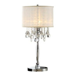 HomeSullivan - Bedside Lamp: 29.5 in. Chrome Table Lamp 40OK-5110T - Shop for Lighting & Fans at The Home Depot. This table lamp is an elegant lighting solution for your home. The lamp body features a chrome finish. Small and large round and larger teardrop shaped crystals cascade beneath the drum shade, reflecting light throughout your room.