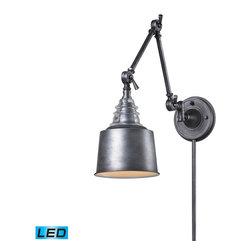 ELK Lighting - ELK Lighting 66825-1-LED Insulator Glass Weathered Zinc Wall Sconce - ELK Lighting 66825-1-LED Insulator Glass Weathered Zinc Wall Sconce
