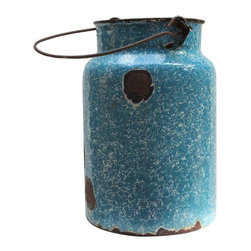 """Pre-owned Vintage Blue Enamel Milk Pail - Beautifully rustic! This vintage blue enamel milk pail is full of character and charm. It has one small hole in bottom, so its original milk-carrying function is out, but it makes a perfect vessel for dried flowers or kitchen utensils.     5"""" diameter at top  6"""" diameter at bottom"""