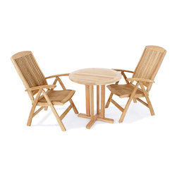 Westminster Teak Furniture - MonteCarlo Teak Bistro Set - The refined luxuriousness of this teak furniture set has durability but also elegance in mind. Invite your guests to join you all season at your outdoor or indoor teak set to celebrate, entertain or just relax.