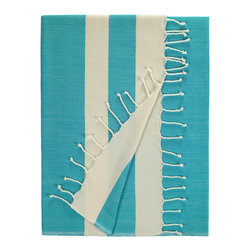 Nine Space - Khadi Beach Wrap, Turquoise, 35 X 71 - Made from cotton with a touch of bamboo, this fashionable fouta becomes softer with each wash. Originally used in Turkish bath houses, it showcases its Mediterranean roots with bold, contrasting stripes and knotted fringe. Use it as a chic beach wrap or towel, draped along the back of a sunroom chaise or as add a shot of color and texture to you dining table.