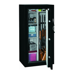 Stack-on GSTD-22-GB-E Total Defense Fire Resistant & Waterproof Safe w/ Electron - Stack-on GSTD-22-GB-E Total Defense Fire Resistant & Waterproof Safe w/ Electronic Lock - 22-Gun is a solid steel, reinforced pry resistant door provides greater security. It also have extra door frame and silk-screen detail on the door gives this safe a more robust look and feel. The interior of the safe is fully carpeted with adjustable shelves that can be positioned to meet your storage needs.
