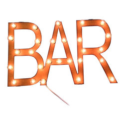 Barfly Marquee - Rusty retro lettering gets the marquee treatment, giving your home bar a tasteful, old-school dive bar feel. Light it up and relax with your drink of choice and a friend.