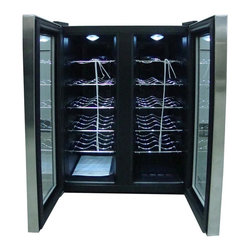 SPT Appliance - 2-Door Wine Cooler with Heating - Stylish design. Will compliment any kitchen or entertainment area. Thermo-electric cooling and heating system. Maintains internal temperature setting. LED temperature display with touch-sensitive control. Environment friendly - refrigerant free. Unit heats to maintain, set temperature. Quiet operation. No vibration - bottle sediment is not disturbed. 10-slide-out shelve. Pane insulated glass door with stainless steel trim. Soft interior light. Front leveling leg. Dual-zone offers two independent temperature setting. Adjustable temperature range: 45-64� F. Max. temperature variance: 35� F. Freestanding application. ETL certified. Capacity: 24 bottle with 12 bottle on each side, 66 liter. Input voltage: 120 volt / 60 Hz. Current: 1 A (77� F). Input power: 140 watt. Protection class: I. Climate class: SN:N. Power consumption: 1.2 kWH / 24 hr (59� F). Temperature range: 45 - 64� F. Max working temperature: 89� F. Maximum temperature variance: 35� F between ambient and unit. Interior - per side: 6 - 7 - 8 in. W x 12.5 in. D x 21 in. H. Recommended temperature for chilling wine: Full red- 59� F-65� F. Light red: 54� F-57� F. White and rose: 46-57� F. Sparkling wine and champagne: 41� F-47� F. Stainless steel trim with black cabinet color. 20.3 in. W x 20.5 in. D x 24.5 in. H (54 lbs.). Instruction Manual. Handle Installation Instruction