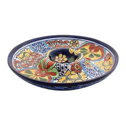 "Mexican Talavera - Mexican Talavera 12"" Chip & Dip Plate, Design A - Mexican Talavera 12"" Chip & Dip Plate"