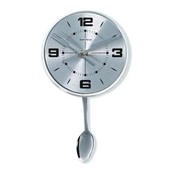 "George Nelson - Stainless Spoon Pendulum Clock - A stainless steel spoon shaped pendulum and knife and fork hands bring a playful spirit to this contemporary wall clock, a reproduction of a classic George Nelson design. Perfect for a kitchen, the clock has a glass protective cover over the face and is finished in a sleek silver tone. Uses 1 AA battery (not included). Designed by George Nelson . Unique design. High-grade quartz movement. Keeps accurate time. Spoon as pendulum. Dial is protected by convex glass. Black Arabic numbers and black open hands. All in silver except bold numbers hour and minute scales. 1.75 in. D x 7 in. W x 11.5 in. H (0.60 lb)This is clock looks clean and comely, dial face circles by metal bezel, pendulum comes down from the back of the clock, swings from left to right. It operates by one ""AA"" battery (not included)."