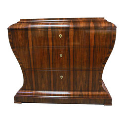 Custom Men's Chiffonier - Front detail of the Vienna Woods designed walnut chiffonier. The Biedermeier style chest features a double platform base and top drawer that folds down to reveal hidden compartments and a writing shelf.