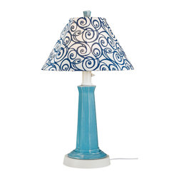 Patio Living Concepts - Patio Living Concepts Nantucket 35 Inch Table Lamp w/ Curacao Blue Base & Denim - 35 Inch Table Lamp w/ Curacao Blue Base & Denim Swirl Shade belongs to Nantucket Collection by Patio Living Concepts Distressed Curacao blue resin lamp base highlights this stylish outdoor lamp. Two level dimming switch and 16' weatherproof cord and plug. Unbreakable polycarbonate waterproof bulb enclosure allows the use of a standard 100 watt light bulb. Lamp (1)