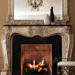 "Ambella - ""French"" Fireplace Mantel - Ambella""French"" Fireplace Mantel DetailsCast-stone mantel topped by black stone. Mantel has an antique-parchment finish with golden highlights on a shell and foliage motif.Exterior: 72""W x 14""D x 52.5""T; interior: 49.5""W x 14""D x 39.5""T. Imported.Boxed weight approximately 245 lbs. Please note that this item may require additional shipping charges.Mantel must be securely mounted to wall for stability; professional installation is strongly recommended. Some assembly required; includes mounting hardware and instructions. Depending on wall material special tools may be required for assembly.Like a wood mantel this stone/resin mantel should not come into direct contact with flames. An appropriate buffer or setback typically granite marble slate or some other non-combustible material should be placed between the firebox and the mantel. Check your local building code requirements to ensure your fireplace is in compliance."