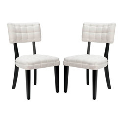 Safavieh - Safavieh Merryl Chair X-2TES-A3005RCM Set of 2 - This familiar dining shape gets new life in a contemporary pairing of off white fabric and dark java finished legs. A quilt-like effect on the back rest and curved rear legs keep Merryl from being a plain Jane.