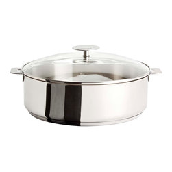 Cristel - Cristel Casteline Stainless Steel 3.8-quart Sauté Pan w/Glass Lid, Removable Han - You'll breeze from stove top to table with this top-notch sauté pan. It's stainless steel — the pro chef's choice for sealing in flavor — and a snap of the removable handle transforms it into an attractive serving dish.