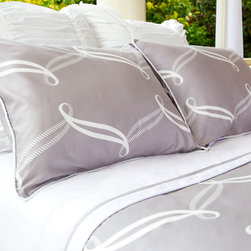 Twin/Twin XL Piper Gray Duvet Set - A contemporary, striking palette. A playful, preppy pattern. Perfect for any modern bedroom, the Piper's white cascading ribbon pattern contrasts beautifully against a light gray palette. Perfect for a college dorm room or a kids bedroom!