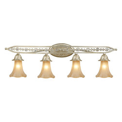 ELK Lighting - ELK Lighting 3822/4 Crystal 4 Light Bathroom Fixture Chelsea Collection - 4 Light Vanity Light with Embedded CrystalRequires 4 60W Candelabra Bulbs (Not Included)
