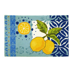 Contemporary Lemons Area Rug - The Lemons area rug Collection offers an affordable assortment of Contemporary stylings. Lemons features a blend of natural Light Blue color. Hand Hooked of Polyester the Lemons Collection is an intriguing compliment to any decor.