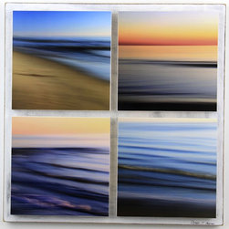 """""""Water Abstracts 4 Piece Panel, Seascapes, Mixed Media"""" - """"Four abstract water and beach photographs by Doug Hockman Photography mounted on wood panels.    Printed on matte archival photo paper, mounted on wood panels and sealed with clear acrylic sealer.   Back panel measures 18X18.  Wired and ready to hang.     """""""
