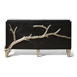 Kathy Kuo Home - Rye Beach Hollywood Regency Black Silver Branch Media Cabinet - S - This eclectic media cabinet juxtaposes rustic and modern, black and silver, wood and cast aluminum. The eye-catching contrasts make this entertainment unit the focal point of your room. The solid wood frame uses three doors to house components on two interior shelves, while the slated back provides ample ventilation and space for cords.