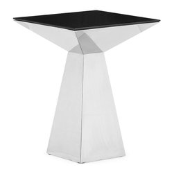 Zuo - Tyrell Tall Side Table - The Tyrell Tall Side Table is a stunning piece of art, but is also functional.  This piece is made of stainless steel and a painted glass top.  Add this statement piece to your living room, bedroom or home office and get ready for heads to turn.