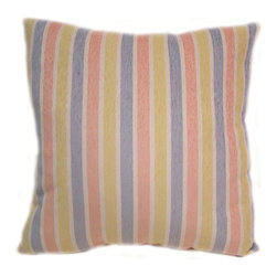 American Mills - Pastel Stripe 24-Inch Floor Pillow - -Update your home decor with this decoratively functional floor pillow.  Comfortable pillow is ideal for floor, sofa or bed.  Spot Clean Only.  Made in USA. American Mills - 36338.995