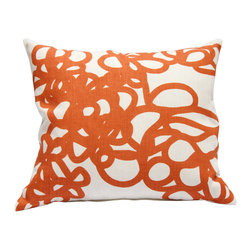 "Area Inc. - Daisy Orange Medium Decorative Pillow  17X19.5"" - Area Inc. - Add a fun print to your couch or bed using the 17-by-19.5 inch Daisy Orange Decorative Pillow. Featuring a tangled orange loop pattern on an off-white linen background, this pillow has a bold look that pairs well with contemporary or eclectic decor. Includes a feather down insert."
