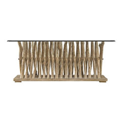 Stanley Furniture - Coastal Living Resort-Driftwood Flats Cocktail Table - The glass top of our Driftwood Flats Cocktail Table is the perfect way to showcase the design's rustic base composed of a series of wooden X's lined up. Like the fences used along the coast to secure the dunes, this table bears witness to a love of the sea and a desire to be surrounded by elements of its serenity at all times.