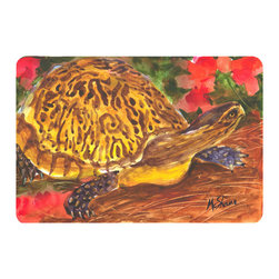 Caroline's Treasures - Turtle Kitchen or Bath Mat 20 x 30 - Kitchen or Bath Comfort Floor Mat This mat is 20 inch by 30 inch. Comfort Mat / Carpet / Rug that is Made and Printed in the USA. A foam cushion is attached to the bottom of the mat for comfort when standing. The mat has been permanently dyed for moderate traffic. Durable and fade resistant. The back of the mat is rubber backed to keep the mat from slipping on a smooth floor. Use pressure and water from garden hose or power washer to clean the mat. Vacuuming only with the hard wood floor setting, as to not pull up the knap of the felt. Avoid soap or cleaner that produces suds when cleaning. It will be difficult to get the suds out of the mat.