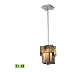 Elk Lighting - Elk Lighting Cubist Collection 1 Light Mini Pendant In Brushed Nickel  - 72072-1 - 1 Light Mini Pendant In Brushed Nickel  - 72072-1-LED in the Cubist collection by Elk Lighting Cubes of tiffany glass are assembled into a structure of offsetting staggered cubes, creating an innovative textural expression.  With hardware finished in Brushed Nickel, this series comes with a choice of white or limited edition dusk sky tiffany glass.   Pendant  (1)