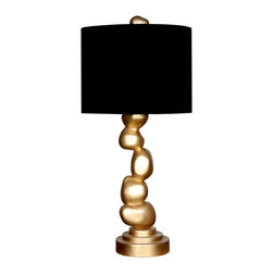 """Pebbles Table Lamp - Pebbles Table Lamp. Style no: TL90917. 8""""dia x 34 1/2""""h. Shade: 16""""dia x 12""""h. Material: Metal. Finish: As specified. Black fabric shade. Custom sizing available. UL listed. Designed by Shah Gilani, ASFD."""