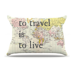 """Kess InHouse - Catherine Holcombe """"To Travel Is To Live"""" Color Map Pillow Case, Standard (30"""" x - This pillowcase, is just as bunny soft as the Kess InHouse duvet. It's made of microfiber velvety fleece. This machine washable fleece pillow case is the perfect accent to any duvet. Be your Bed's Curator."""