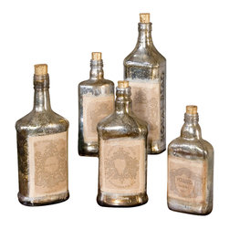 Uttermost - Uttermost Recycled Bottles Set/5 - Recycled Bottles Set/5 by Uttermost Recycled Mercury Style Glass Bottles With Artwork Adorned To Front And Cork Stoppers. Each Set Of Five Will Be In The Same Size Range But As Bottles Are Recycled They Will Be Different Bottles Each Time. Sizes Will Range From 6 Inches To 12 Inches Tall.