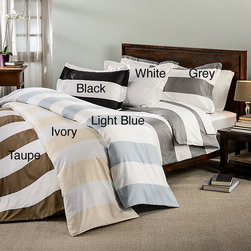 None - Cabana Striped 3-piece Duvet Cover Set - Drift off to paradise each night with this cabana inspired striped duvet cover. The set is available in six subtle,but sophisticated colors that can be coordinated with a variety of bedding collections.