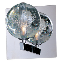 ET2 - ET2 E24250-91 1 Light Wall Sconce from the Orb Collection - Orb 1 Light Wall SconceBrilliant Xenon lamps radiate from the center of perfect spheres in the Orb Collection. Clear Bubble glass allows for a brilliant glow as it mimics the fluid play of water and air and adds a theatrical sense of drama to the room. The restrained use of Polished Chrome complements the globes without detracting from their ability to mesmerize onlookers with an innate mystery.Features:
