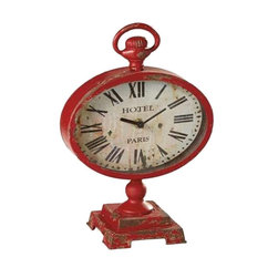 MIDWEST CBK - Distressed Red Desk Clock - Distressed Red Desk Clock. Shop home furnishings, decor, and accessories from Posh Urban Furnishings. Beautiful, stylish furniture and decor that will brighten your home instantly. Shop modern, traditional, vintage, and world designs.
