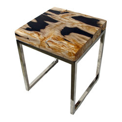 """Impact Imports USA, Inc. - Petrified Wood Accent Table, square - A small and beautiful Petrified Wood square accent table with lots of character and interest.  The base is nickel plated tube steel.  Easy maintenance by cleaning with soft cloth and non-abrasive cleanser for a lifetime of beauty.  The fossilized wood top is 2"""" thick.  35 lbs total weight."""