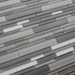 Rocky Point Tile - Feel Series Basalto Textured Strip Mosaic Tiles, 10 Square Feet - A lightly textured multicolored blend of various lighter and darker shades of taupe, and white. Tile pieces vary in length and width giving the tile a complex pattern that looks great in large spaces or smaller areas like a kitchen backsplash. The surface has a very light bumpy texture that adds extra dimension.
