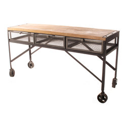 Kathy Kuo Home - Tribeca Industrial Mesh Drawer Caster Wheel Desk Console Table - Build your business empire in style at this industrial caster wheel desk. This piece is a looker, but it also adds convenience to your urban loft or workspace - with its caster wheels, it can be easily repositioned at a moment's notice, and doubles as a console table. Three iron mesh drawers are at the ready to stash all your paperwork or computer gear.