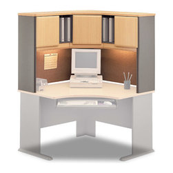 Bush Business - Corner Hutch - Series A - You will love how this classically designed corner hutch looks in your home office or den, and you will love how well it helps you stay organized.  This hutch fits easily on top of a corner desk, and features two fabric-covered tack boards, concealed and unconcealed storage compartments and self-closing adjustable hinges. * Vinyl fa̤ade on door fronts. Fits on Corner Desk. Two fabric-covered tackboards included. Interior and back panels are fully finished. Self-closing adjustable hinges. Open and concealed storage compartments. 47.165 in. W x 47.165 in. in. x 36.496 in. H