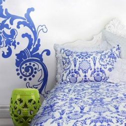 "Wake Up Frankie - Wake Up Frankie If the Crown Fits Duvet Cover Set - Outfit your bed with the stylish Wake Up Frankie If the Crown Fits Duvet Cover Set. The royal blue ""Chinoiserie chic"" pattern on a crisp white background is a bold, beautiful, and eye catching addition to your bedroom."