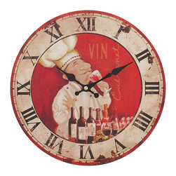 11 1/2 Inch Diameter Red Wine Chef Kitchen Wall Clock - Made of fiberboard, this gorgeous 11 1/2 inch diameter battery powered wall clock features a French chef sniffing a glass of Cabernet, with `Cabernet Vin Rouge` printed in 3 different fonts in front. The clock has a distressed look, with wear marks and printed scratches as part of the design. It runs on one AA battery (not included). This wall clock makes a great gift for wine lovers.