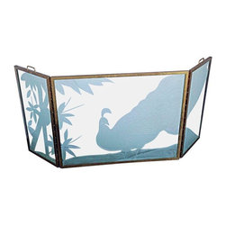 """Pre-owned 3-Panel Brass & Glass Firescreen - This gorgeous fire screen makes an elegant statement in your home as well as protecting your room from sparks. The etching of the glass is of a peacock in a garden and would be beautiful anytime of the year. It is like having an art piece in front of your fireplace. The construction is of very heavy 3/4"""" etched glass with solid brass framing. The side panels fold to store flat and have two strong brass handles for carrying.     The dimensions below are for the center piece only since the item cannot stand alone without an angle to the side sections. Each side section is 14"""" wide. So the total width is 64"""" but the space it would be used in would be narrower. And the folded depth would be 1.5"""""""