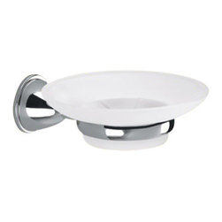 Gedy - Wall Mounted Frosted Glass Soap Dish With Chrome Mounting - Wall mounted satin glass soap dish with holder made in brass with polished chrome finish.