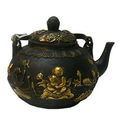 Golden Lotus - Chinese Rustic Metal Kid with Fish Teapot Display - This is a decorative oriental teapot shape display with rustic metal finish. For display, not for use.