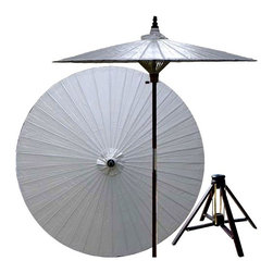 Oriental Unlimted - 7 ft. Tall Lychee Patio Umbrella w Bamboo Sta - Includes Bamboo stand. Handcrafted and hand-painted by master artisans. 100% Waterproof and extremely durable. Umbrella shade can be set at 2 different heights, 1 for maximum shade coverage and the other for a better view of the shade. An optional base, which secures the umbrella rod and shade against strong winds and rain. Patio umbrella rod and base is constructed of stained oak hardwood for a rich look and durable design. Umbrella shade is made of oil-treated cotton. Minimal assembly required. Canopy: 76 in. D x 84 in. HChildren, helpful people and marriage are all attributed to white in the Oriental tradition. White is also an optimal color for mixing well with any outdoor color theme and in general signifies purity. Allow this gorgeous solid white patio umbrella to enrich your lawn, patio or deck area.