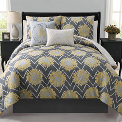 None - Naomi 5-piece Reversible Comforter Set - Update your bedroom with this five-piece reversible comforter set. With a floral print that reverses to a geometric pattern, this set is machine washable and includes the comforter, two decorative pillows, and two shams (one sham with twin set).