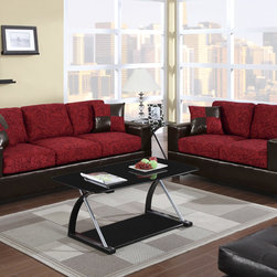 Modern Red Floral Fabric Sofa Couch Loveseat Living Room Set Pillows - The masculine and feminine come together in the design of this 2-piece sofa set upholstered in a chocolate floral print fabric. Its bold block style base is covered in a chocolate faux leather making it a fabulous piece for a contemporary living space.