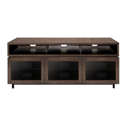 """Bell'o - Bello Entertainment Wood Cabinet Cocoa - This contemporary European design home entertainment wood cabinet features a combination of wood and dark tinted tempered safety glass panel doors, and can accommodate most flat panel TVs up to 70"""" (or up to 175 lbs.). It features real wood with an intrica Accommodates most Flat Panel TVs or Micro Display Tvs up to 70"""" or 175 lbs, plus at least 9 audio/video components"""
