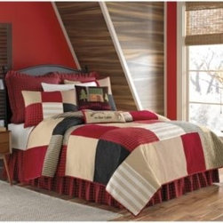 C & F Enterprises, Inc. - Alpine Lodge Quilt Collection - This quilt displays a modern approach to lodge living with classic patterns like stripes, ticking, and buffalo check mixed with unexpected colors.