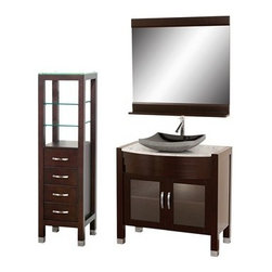 "Modern Bathroom - Daytona 36"" Bathroom Vanity Set - Espresso Finish - Absolutely exclusive to Modern Bathroom, the Daytona 36"" Bathroom Vanity Set in Espresso is unique in contemporary bathroom vanities and will make a strong statement in your bathroom. This beautiful bathroom vanity comes complete with mirror and cabinet. Its solid marble counter shows off the glamour and modern design of this vanity, and will transform your bathroom into a contemporary masterpiece. This is a Modern Bathroom original design, and is therefore only available in very limited numbers. Incredibly, this price is for the complete set - Vanity, mirror, and cabinet included, and FREE SHIPPING! All counters are pre-drilled for a single-hole faucet, but are also available for a 3-hole faucet by request, at no additional charge. Available in additional sizes, finishes and counter options. Features Constructed of solid, environmentally friendly, zero emissions wood, engineered to prevent warping and last a lifetime Includes single-hole faucet mount Includes drain assembly and P-Trap Includes mirror and side cabinet (WC-K-W045-ESP) Please note that backsplashes MUST be ordered at the same time as the vanity and counter. They cannot be shipped as separate items.--> How to handle your counterSpec Sheet for vanity and mirrorSpec Sheet for linen tower Spec Sheet for WC-K-W045 Spec Sheet for V202 Spec Sheet for V203 Spec Sheet for V205 Spec Sheet for WC-V207 Installation Guide for WC-V207 Dimensions   Width Depth Shelf Depth Height Height to counter Sinks height Vanity 36 22     33.5 5"" to 5-1/2 Mirror 36   5 33     Natural stone like marble and granite, while otherwise durable, are vulnerable to staining from hair dye, ink, tea, coffee, oily materials such as hand cream or milk, and can be etched by acidic substances such as alcohol and soft drinks. Please protect your countertop and/or sink by avoiding contact with these substances. For more information, please review our ""Marble & Granite Care"" guide."