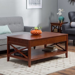 Belham Living Hampton Lift-Top Coffee Table - Cherry - The Hampton Lift Top Coffee Table - Cherry has classic Craftsman style and modern conveniences that make it one smart coffee table. This living room essential is made of solid wood with X detailing tapered legs and an oak veneer top. Its rich cherry finish lends elegance. Not your standard coffee table the top of this one features a smooth lift mechanism. This means with a simple lift of the top you get a whole table at the perfect height for eating writing or using your laptop or tablet. And with the lid lifted you'll find lots of organized storage space within. Smart and stylish! About Belham Living Belham Living builds catalog-quality furniture in traditional styles at a price that actually makes sense. By listening to our customers and working closely with great manufacturers we build beautiful pieces worthy of your home. Rich wood finishes attention to detail and stylish lines that tie everything together are some of the hallmarks of a Belham Living piece. From the living room or bedroom through the kitchen and out onto the deck there's something from an incredible Belham collection perfect for your style.